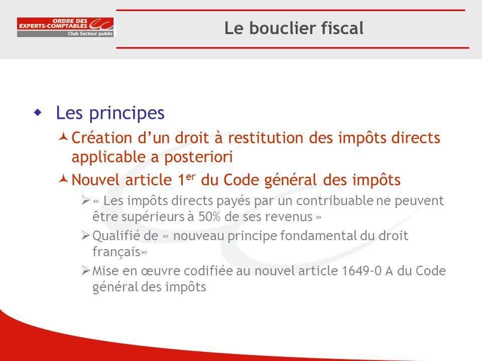 Le bouclier fiscal Les principes Création dun droit à restitution des impôts directs applicable a posteriori Nouvel article 1 er du Code général des i