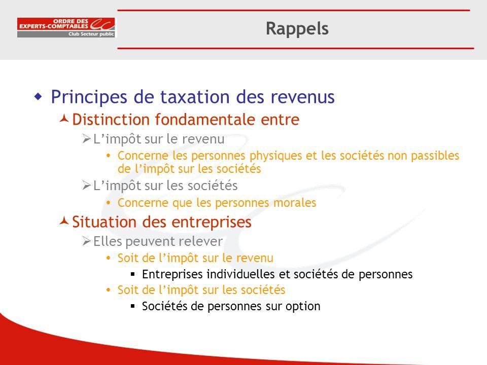 Principes de taxation des revenus Distinction fondamentale entre Limpôt sur le revenu Concerne les personnes physiques et les sociétés non passibles d
