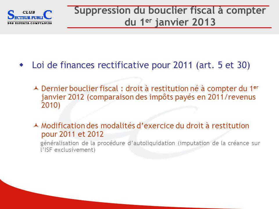 Suppression du bouclier fiscal à compter du 1 er janvier 2013 Loi de finances rectificative pour 2011 (art. 5 et 30) Dernier bouclier fiscal : droit à