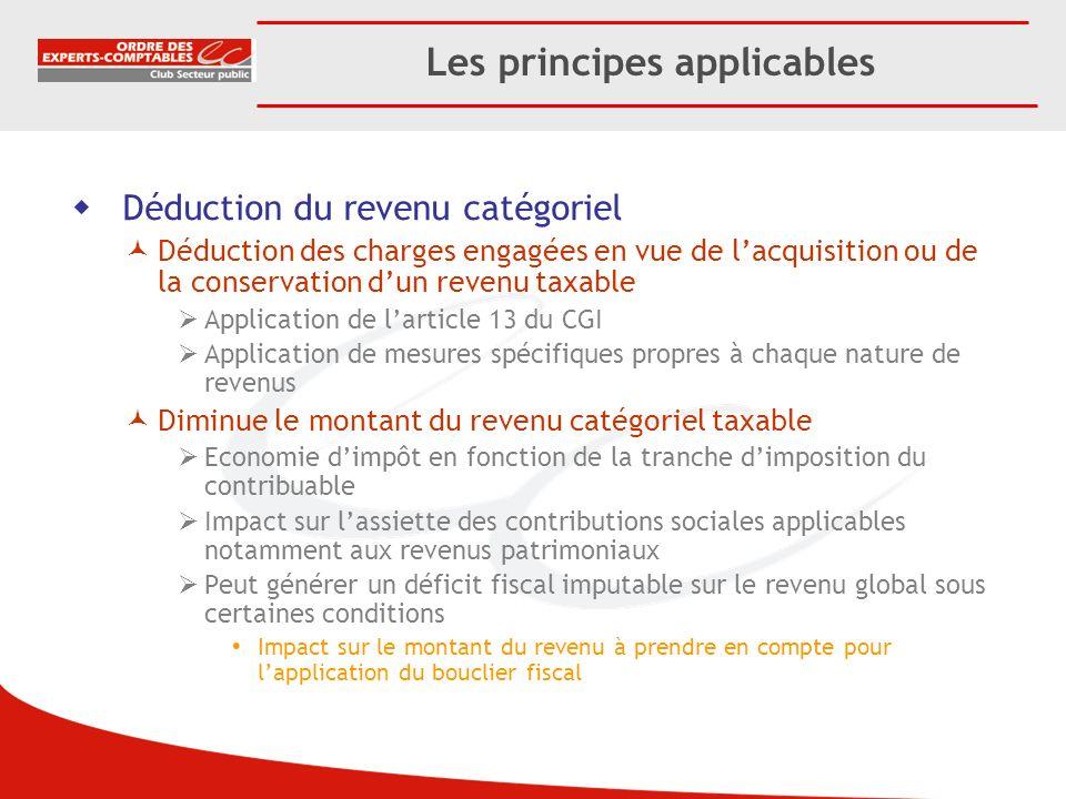 Les principes applicables Déduction du revenu catégoriel Déduction des charges engagées en vue de lacquisition ou de la conservation dun revenu taxabl