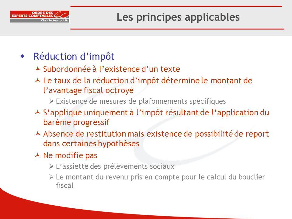 Les principes applicables Réduction dimpôt Subordonnée à lexistence dun texte Le taux de la réduction dimpôt détermine le montant de lavantage fiscal