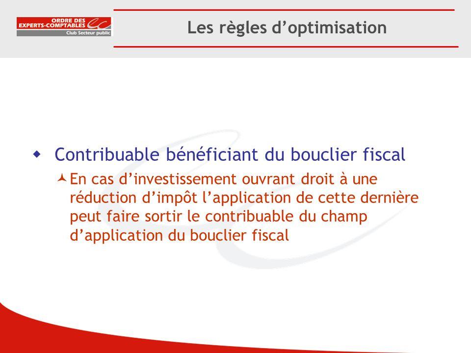 Les règles doptimisation Contribuable bénéficiant du bouclier fiscal En cas dinvestissement ouvrant droit à une réduction dimpôt lapplication de cette