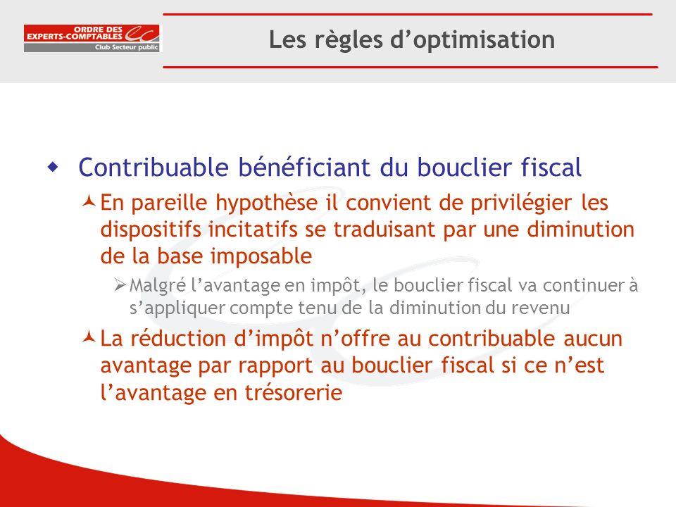 Les règles doptimisation Contribuable bénéficiant du bouclier fiscal En pareille hypothèse il convient de privilégier les dispositifs incitatifs se tr