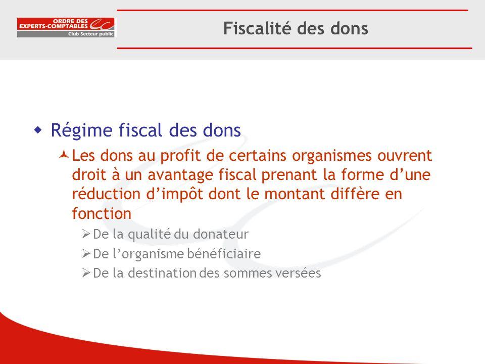 Régime fiscal des dons Les dons au profit de certains organismes ouvrent droit à un avantage fiscal prenant la forme dune réduction dimpôt dont le mon