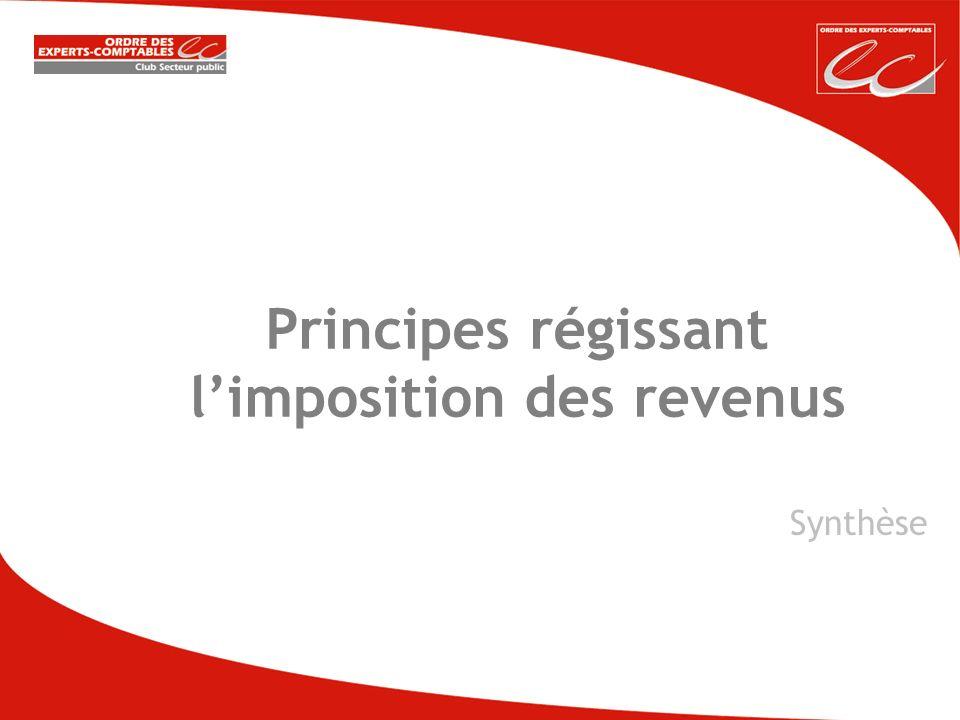 Principes régissant limposition des revenus Synthèse