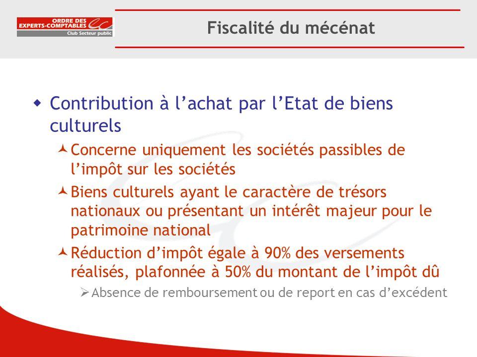 Fiscalité du mécénat Contribution à lachat par lEtat de biens culturels Concerne uniquement les sociétés passibles de limpôt sur les sociétés Biens cu
