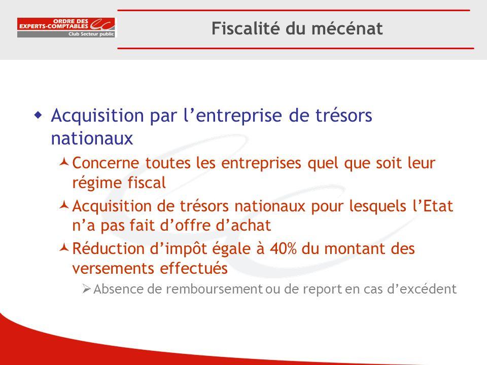Fiscalité du mécénat Acquisition par lentreprise de trésors nationaux Concerne toutes les entreprises quel que soit leur régime fiscal Acquisition de