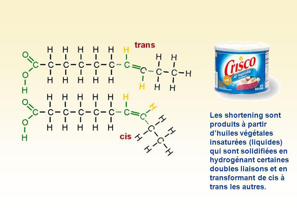 Les shortening sont produits à partir dhuiles végétales insaturées (liquides) qui sont solidifiées en hydrogénant certaines doubles liaisons et en tra