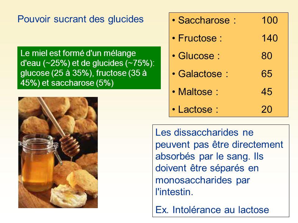 Pouvoir sucrant des glucides Saccharose :100 Fructose : 140 Glucose : 80 Galactose :65 Maltose :45 Lactose : 20 Les dissaccharides ne peuvent pas être