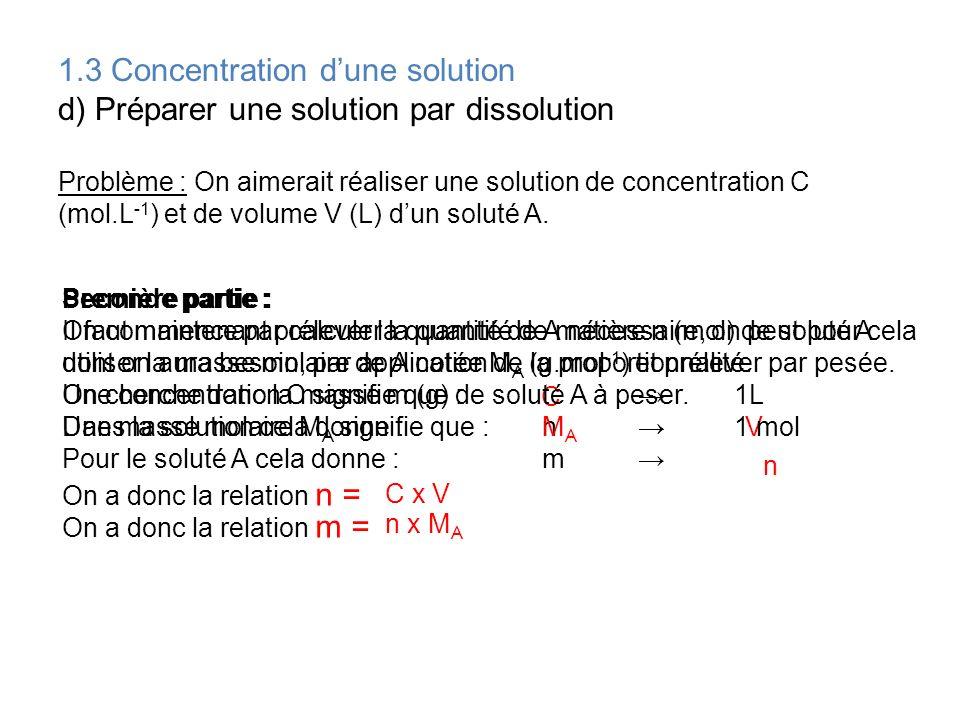 1.3 Concentration dune solution e) Préparer une solution par dilution Problème : On aimerait réaliser une solution S de concentration C (mol.L -1 ) et de volume V (L) dun soluté A.