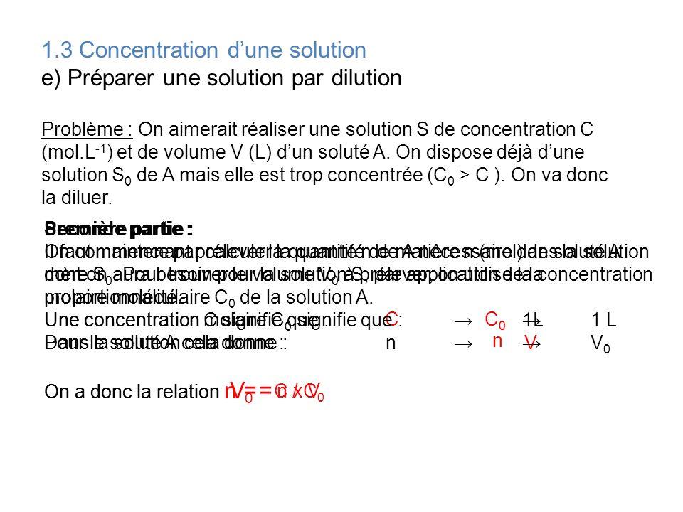 1.3 Concentration dune solution e) Préparer une solution par dilution Problème : On aimerait réaliser une solution S de concentration C (mol.L -1 ) et