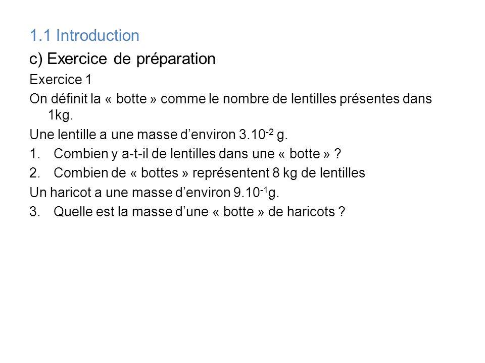 1.1 Introduction c) Exercice de préparation Exercice 1 On définit la « botte » comme le nombre de lentilles présentes dans 1kg. Une lentille a une mas