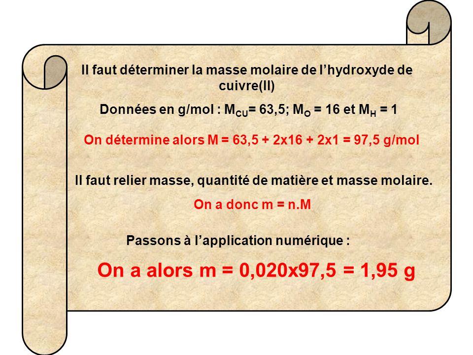 Il faut déterminer la masse molaire de lhydroxyde de cuivre(II) Données en g/mol : M CU = 63,5; M O = 16 et M H = 1 On détermine alors M = 63,5 + 2x16