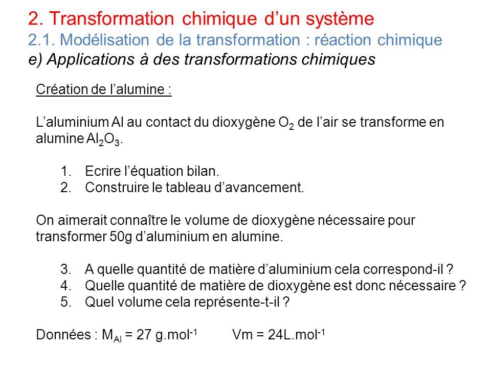 2. Transformation chimique dun système 2.1. Modélisation de la transformation : réaction chimique e) Applications à des transformations chimiques Créa