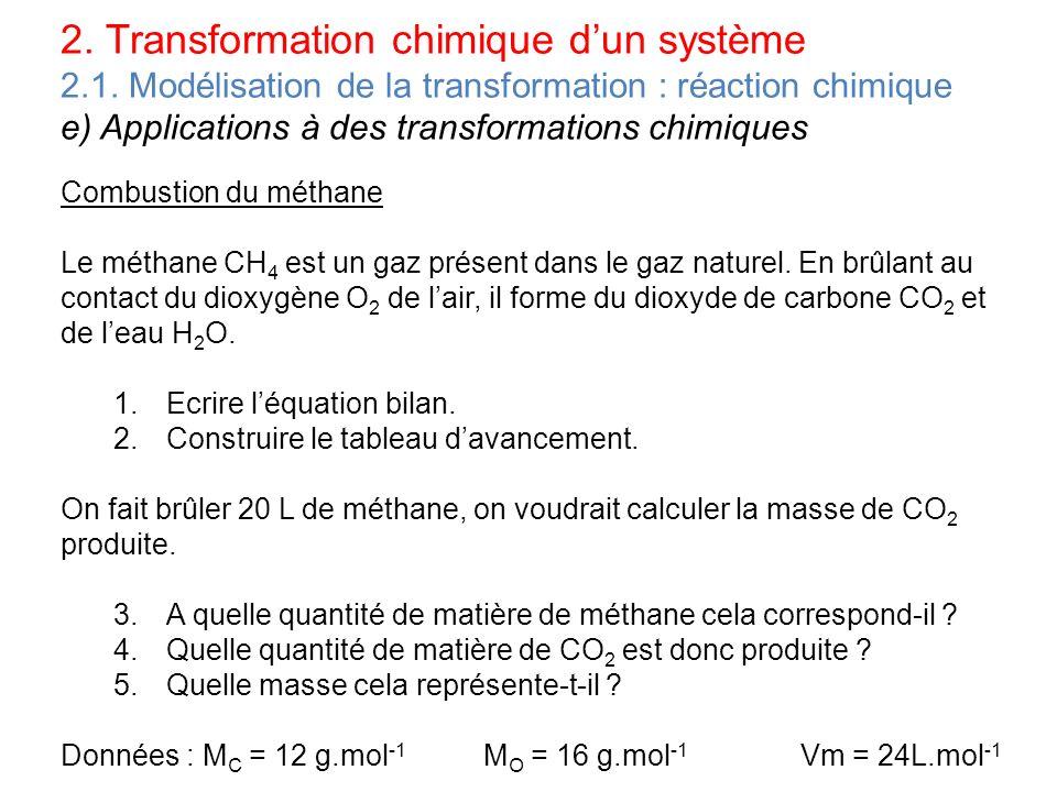 2. Transformation chimique dun système 2.1. Modélisation de la transformation : réaction chimique e) Applications à des transformations chimiques Comb