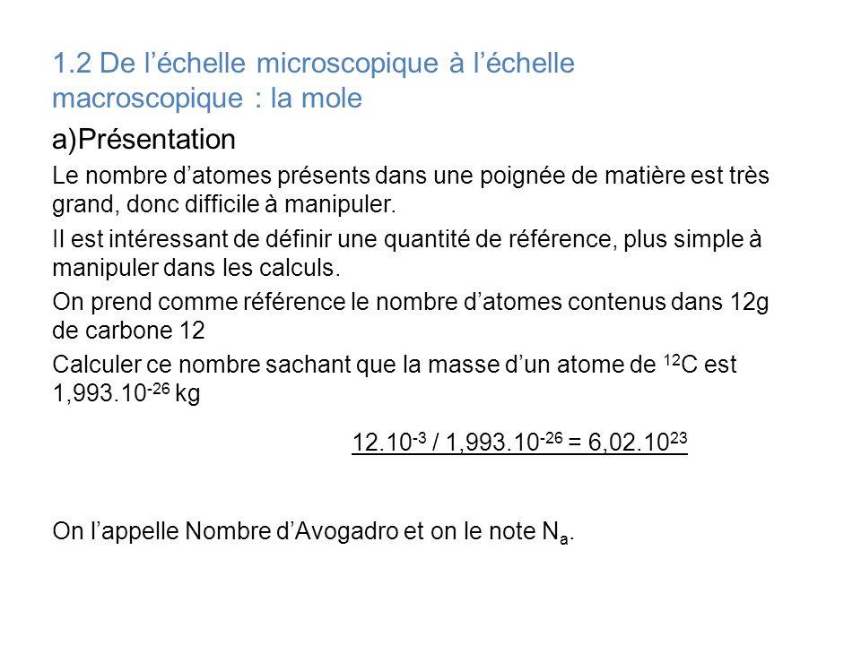 1.2 De léchelle microscopique à léchelle macroscopique : la mole a)Présentation Le nombre datomes présents dans une poignée de matière est très grand,