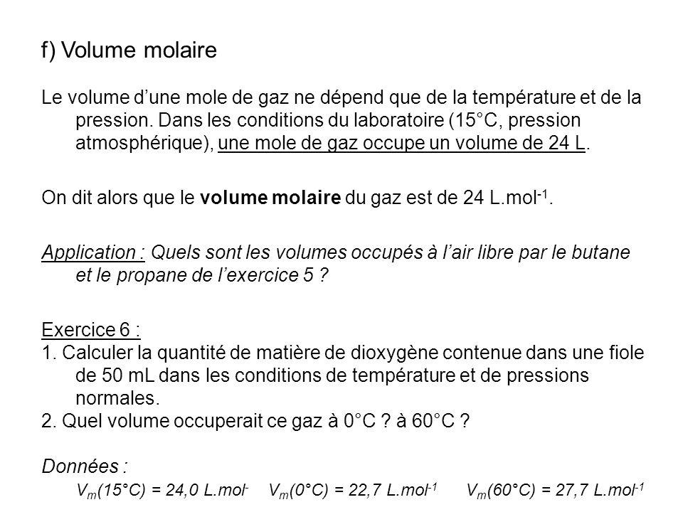 f) Volume molaire Le volume dune mole de gaz ne dépend que de la température et de la pression. Dans les conditions du laboratoire (15°C, pression atm