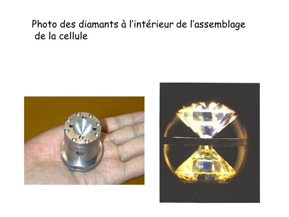 Photo des diamants à lintérieur de lassemblage de la cellule