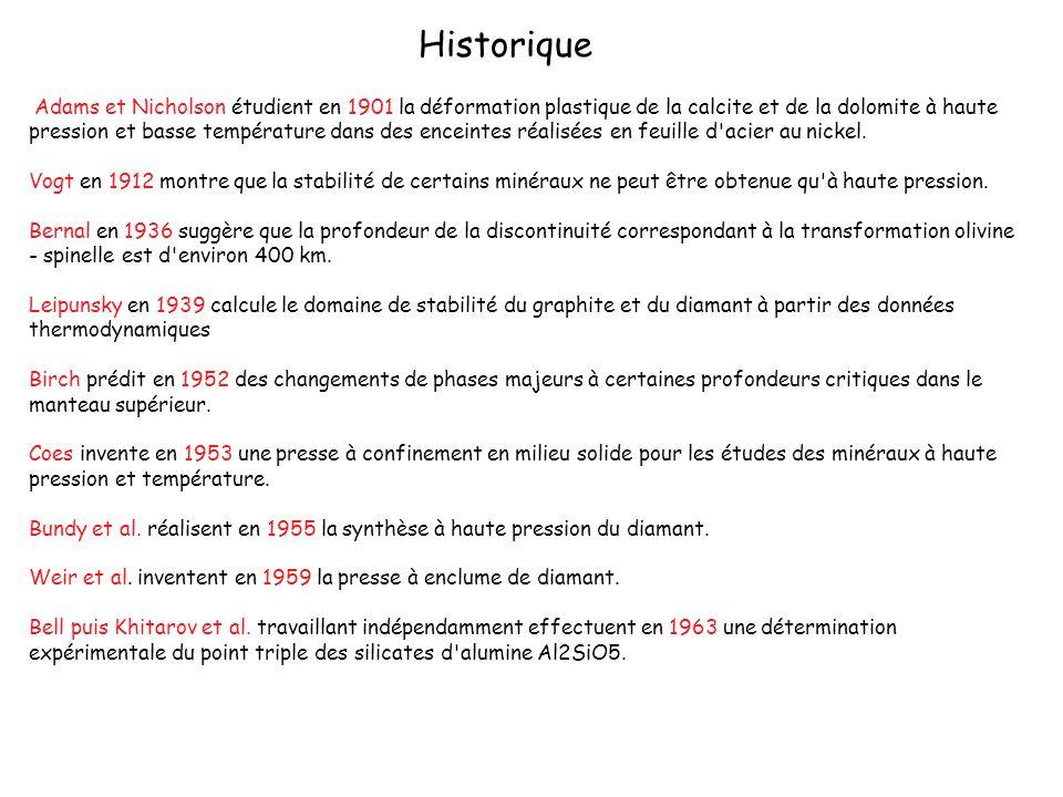 Historique Adams et Nicholson étudient en 1901 la déformation plastique de la calcite et de la dolomite à haute pression et basse température dans des