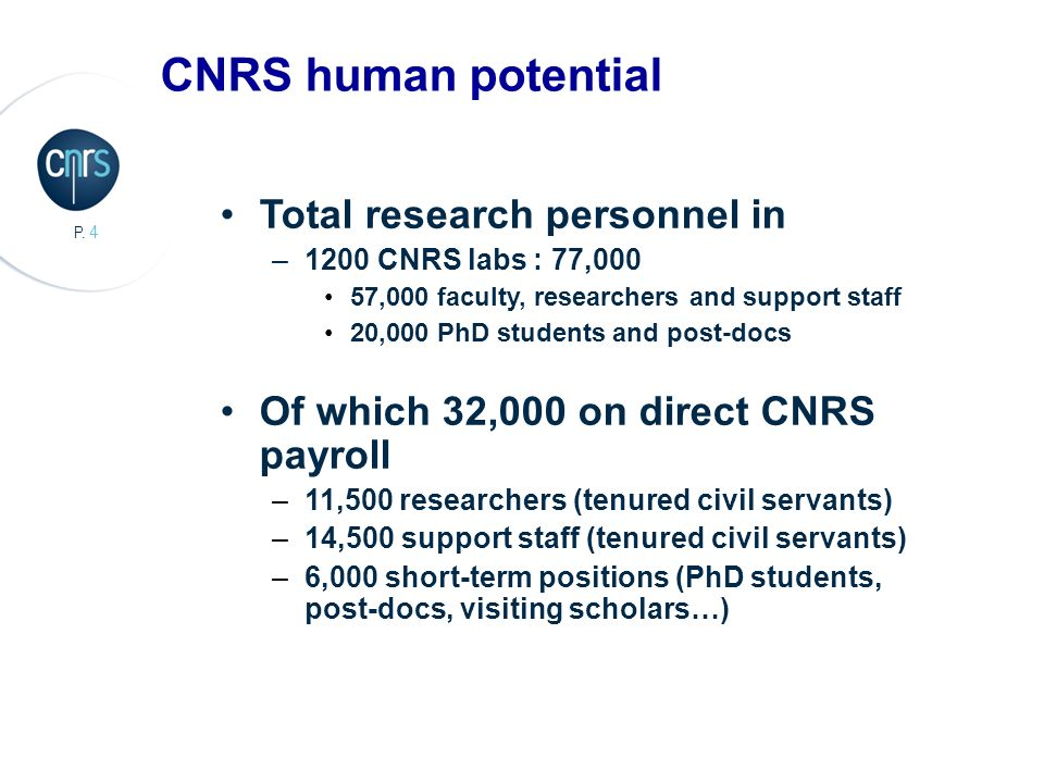 4 P. 4 Total research personnel in –1200 CNRS labs : 77,000 57,000 faculty, researchers and support staff 20,000 PhD students and post-docs Of which 3