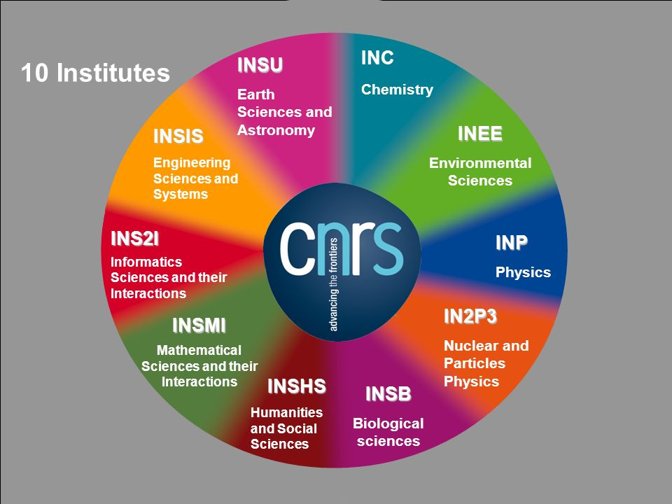 7 INSU Earth Sciences and Astronomy INC Chemistry INEE Environmental Sciences INP Physics IN2P3 Nuclear and Particles Physics INSB Biological sciences