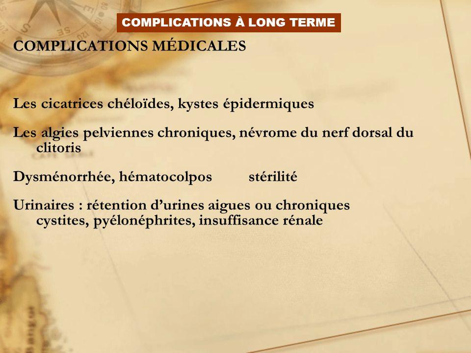 COMPLICATIONS MÉDICALES Les cicatrices chéloïdes, kystes épidermiques Les algies pelviennes chroniques, névrome du nerf dorsal du clitoris Dysménorrhé