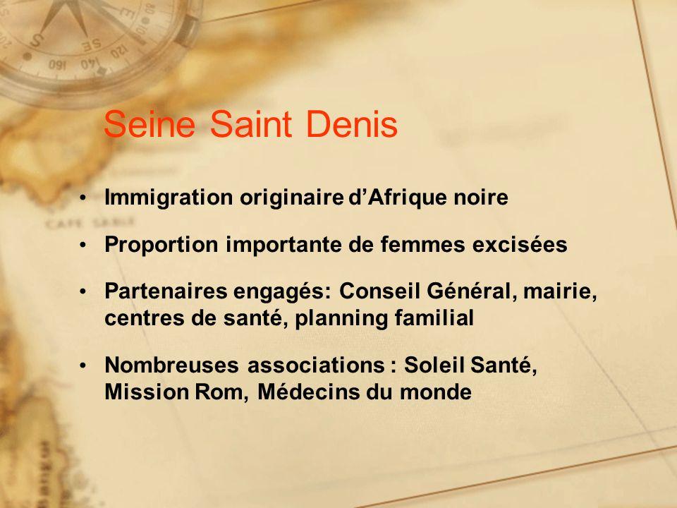 Seine Saint Denis Immigration originaire dAfrique noire Proportion importante de femmes excisées Partenaires engagés: Conseil Général, mairie, centres