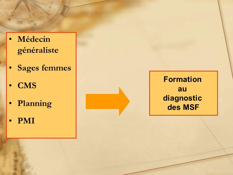 Médecin généraliste Sages femmes CMS Planning PMI Formation au diagnostic des MSF