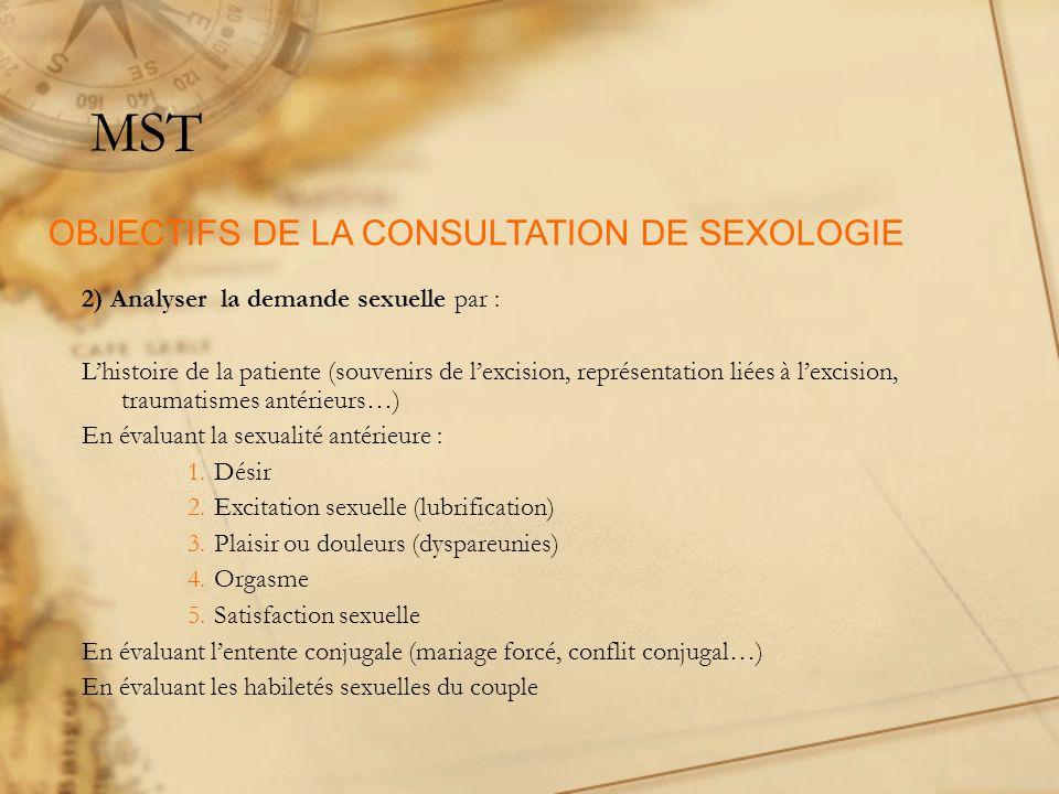 MST 2) Analyser la demande sexuelle par : Lhistoire de la patiente (souvenirs de lexcision, représentation liées à lexcision, traumatismes antérieurs…