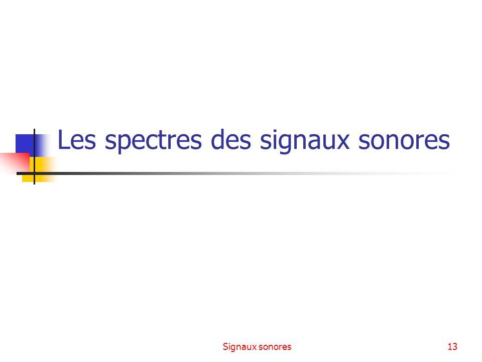 Signaux sonores13 Les spectres des signaux sonores