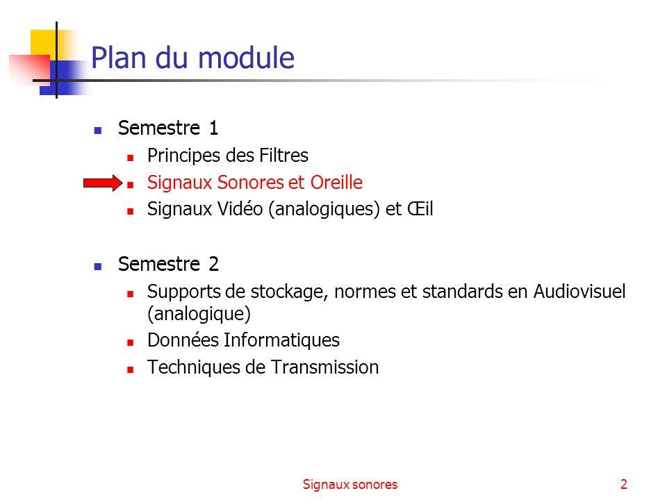 Signaux sonores2 Plan du module Semestre 1 Principes des Filtres Signaux Sonores et Oreille Signaux Vidéo (analogiques) et Œil Semestre 2 Supports de