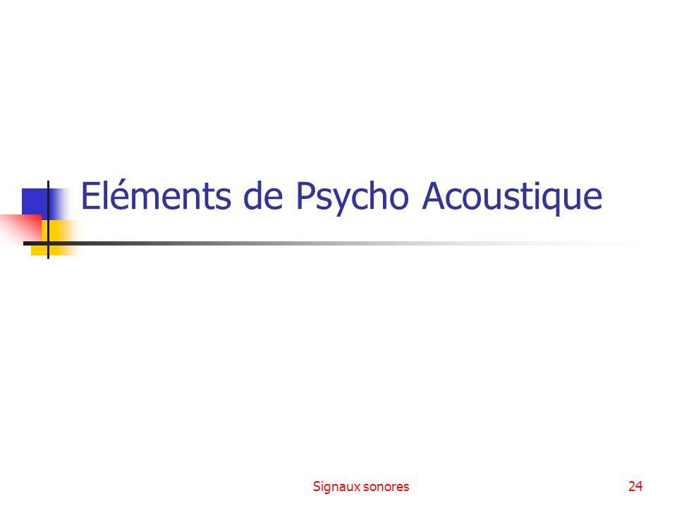 Signaux sonores24 Eléments de Psycho Acoustique