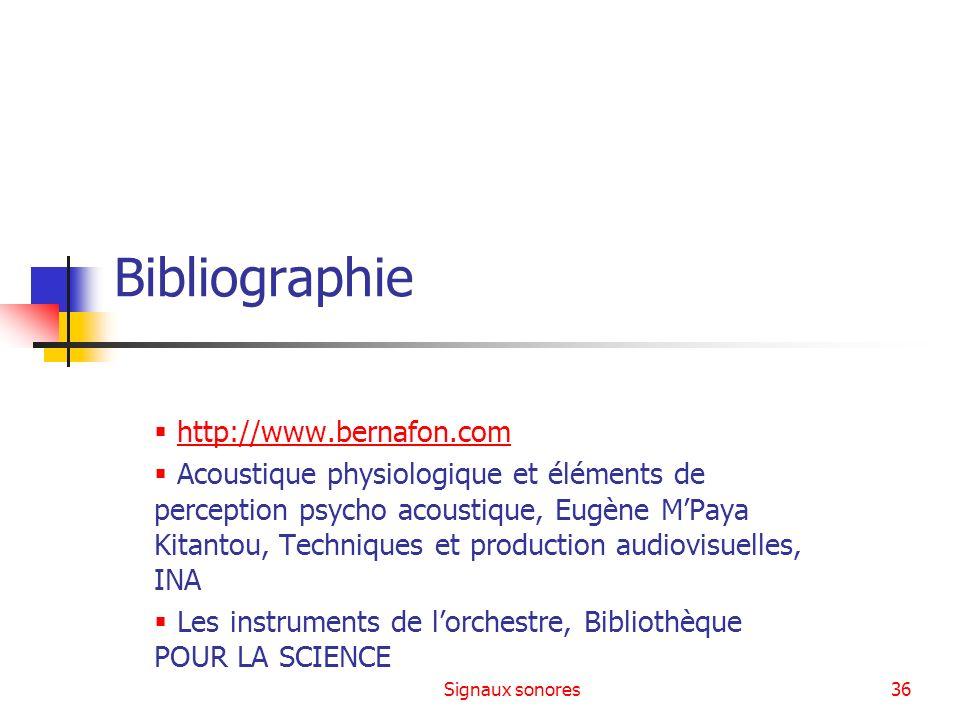 Signaux sonores36 Bibliographie http://www.bernafon.com Acoustique physiologique et éléments de perception psycho acoustique, Eugène MPaya Kitantou, T