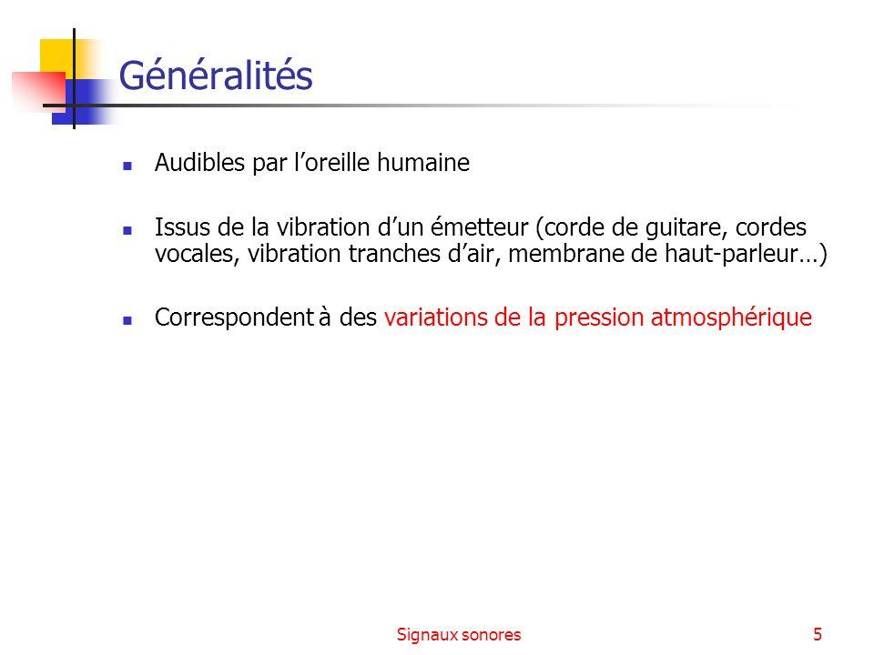 Signaux sonores26 Champ auditif humain 1 10 -2 10 -4 10 -6 10 -8 10 -10 10 -12 Question : quelle la bande passante du RTC .