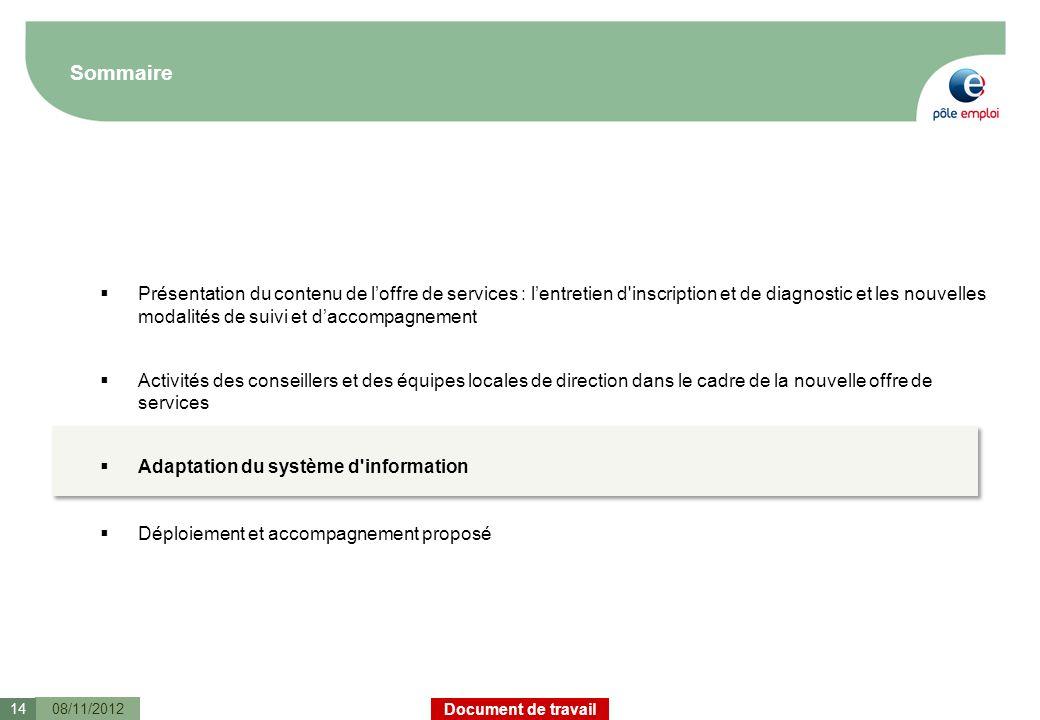Document de travail Sommaire 08/11/201214 Présentation du contenu de loffre de services : lentretien d'inscription et de diagnostic et les nouvelles m