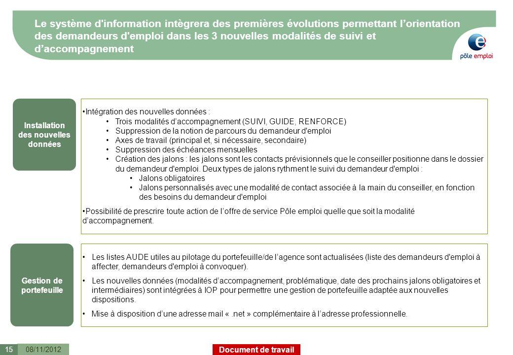 Document de travail Le système d'information intègrera des premières évolutions permettant lorientation des demandeurs d'emploi dans les 3 nouvelles m