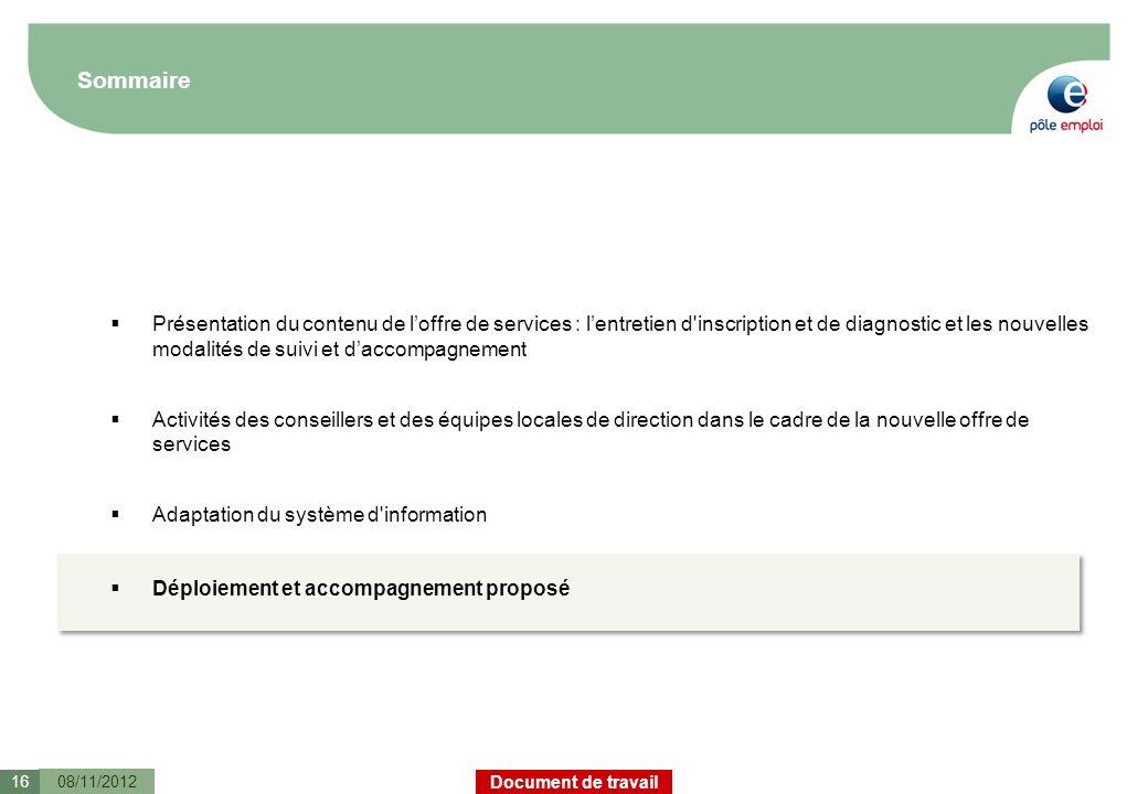 Document de travail Sommaire 08/11/201216 Présentation du contenu de loffre de services : lentretien d'inscription et de diagnostic et les nouvelles m