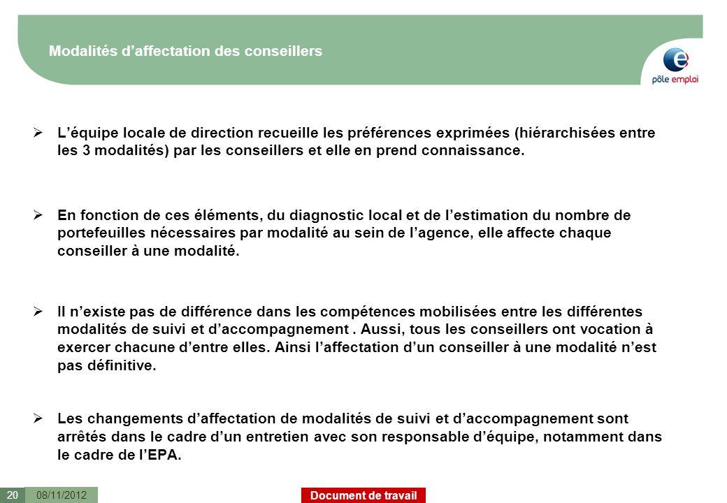 Document de travail Modalités daffectation des conseillers Léquipe locale de direction recueille les préférences exprimées (hiérarchisées entre les 3