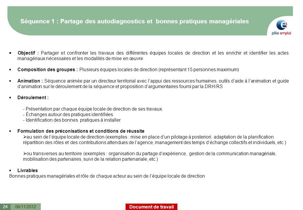 Document de travail Séquence 1 : Partage des autodiagnostics et bonnes pratiques managériales 08/11/201224 Objectif : Partager et confronter les trava