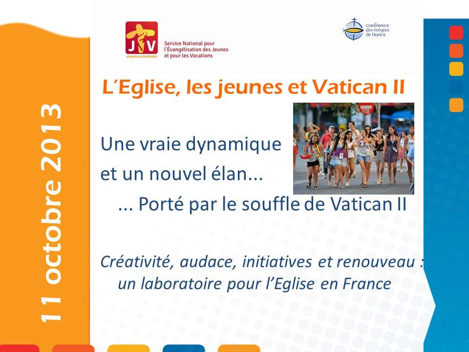 LEglise, les jeunes et Vatican II 11 octobre 2013 Une vraie dynamique et un nouvel élan...... Porté par le souffle de Vatican II Créativité, audace, i