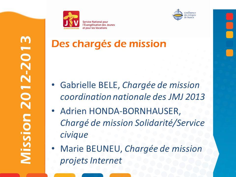 Des chargés de mission Mission 2012-2013 Gabrielle BELE, Chargée de mission coordination nationale des JMJ 2013 Adrien HONDA-BORNHAUSER, Chargé de mis