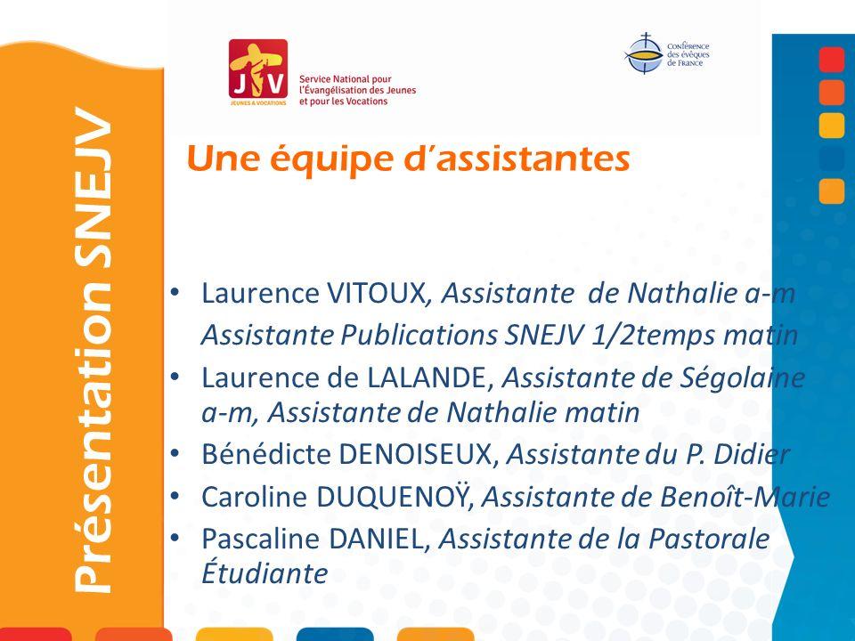 Une équipe dassistantes Présentation SNEJV Laurence VITOUX, Assistante de Nathalie a-m Assistante Publications SNEJV 1/2temps matin Laurence de LALAND