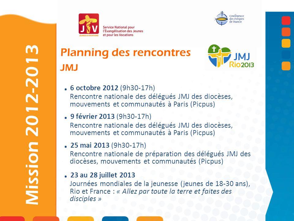 . 6 octobre 2012 (9h30-17h) Rencontre nationale des délégués JMJ des diocèses, mouvements et communautés à Paris (Picpus). 9 février 2013 (9h30-17h) R