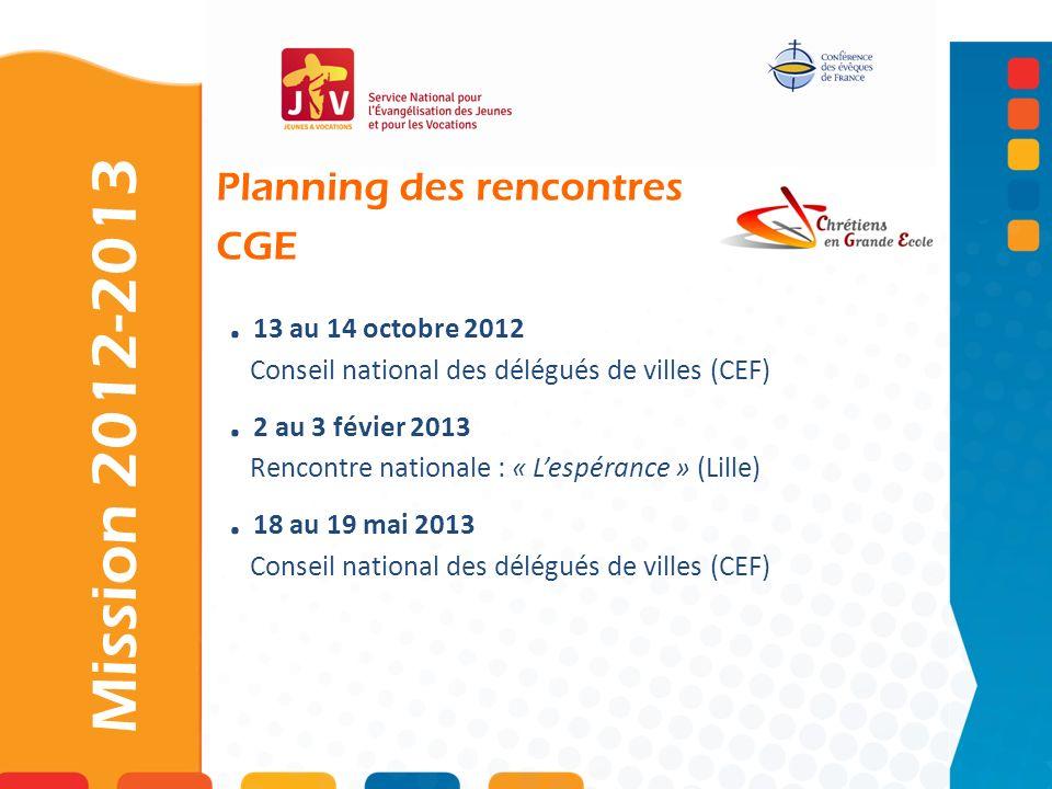 . 13 au 14 octobre 2012 Conseil national des délégués de villes (CEF). 2 au 3 févier 2013 Rencontre nationale : « Lespérance » (Lille). 18 au 19 mai 2