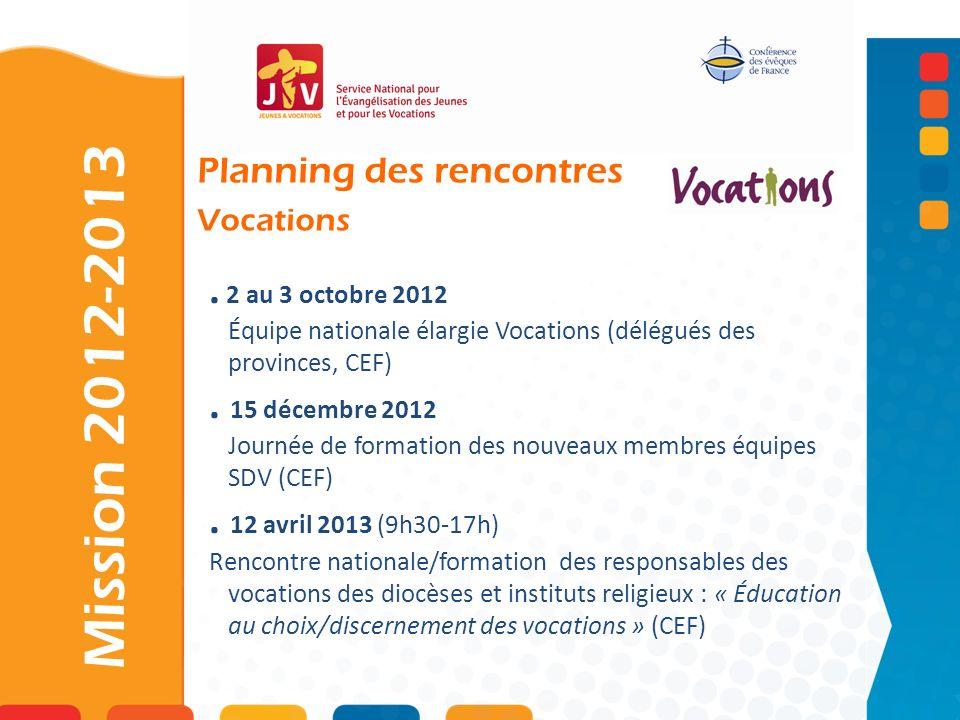 . 2 au 3 octobre 2012 Équipe nationale élargie Vocations (délégués des provinces, CEF). 15 décembre 2012 Journée de formation des nouveaux membres équ