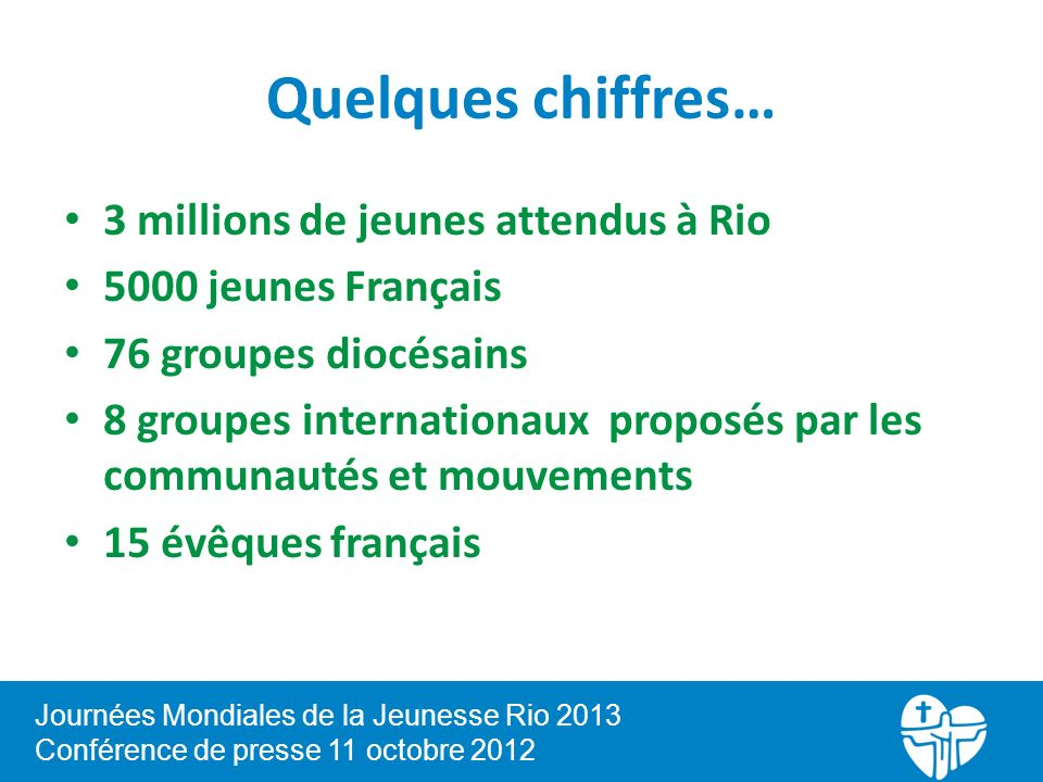 Quelques chiffres… 3 millions de jeunes attendus à Rio 5000 jeunes Français 76 groupes diocésains 8 groupes internationaux proposés par les communautés et mouvements 15 évêques français Journées Mondiales de la Jeunesse Rio 2013 Conférence de presse 11 octobre 2012