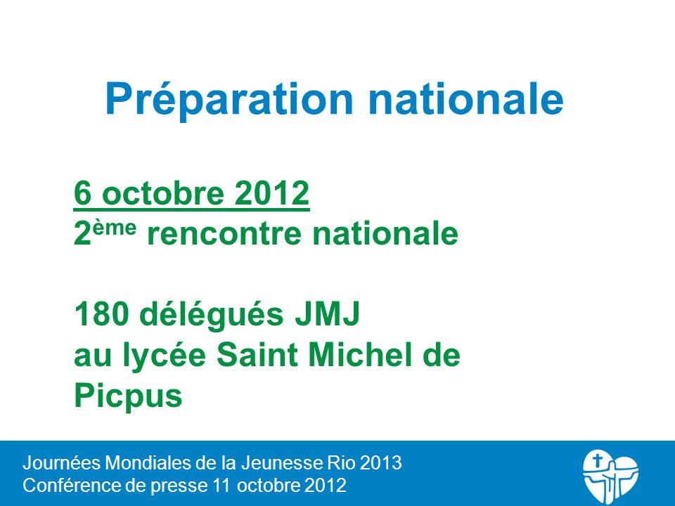 Journées Mondiales de la Jeunesse Rio 2013 Conférence de presse 11 octobre 2012 Préparation nationale 6 octobre 2012 2 ème rencontre nationale 180 dél