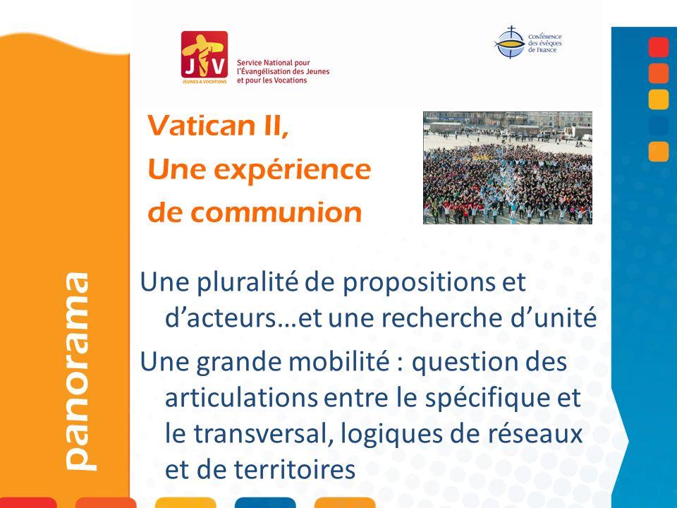 Vatican II, Une expérience de communion panorama Une pluralité de propositions et dacteurs…et une recherche dunité Une grande mobilité : question des articulations entre le spécifique et le transversal, logiques de réseaux et de territoires