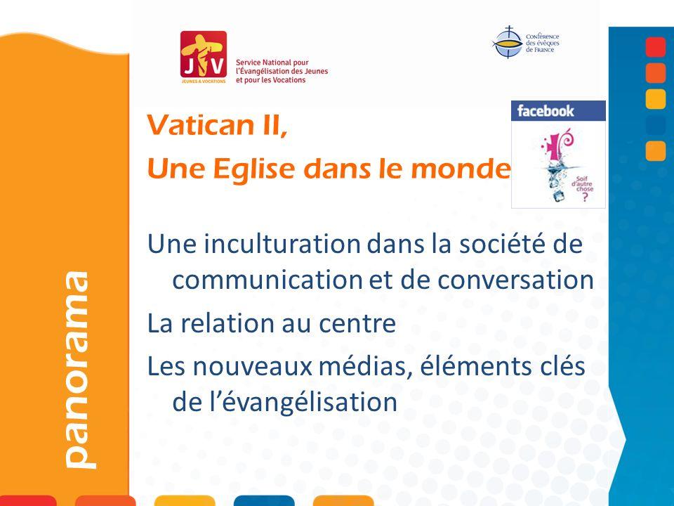 Vatican II, Une Eglise dans le monde panorama Une inculturation dans la société de communication et de conversation La relation au centre Les nouveaux médias, éléments clés de lévangélisation