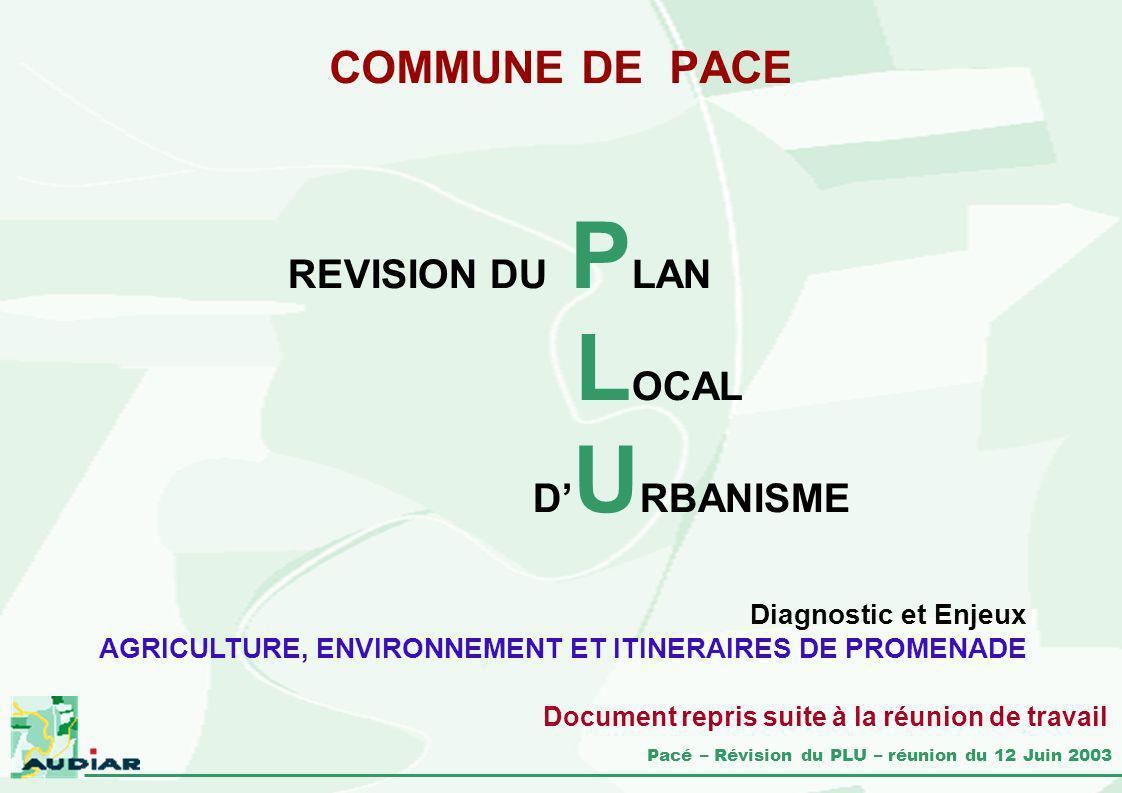 Pacé – Révision du PLU – réunion du 12 Juin 2003 COMMUNE DE PACE REVISION DU P LAN L OCAL D U RBANISME Diagnostic et Enjeux AGRICULTURE, ENVIRONNEMENT